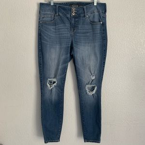 Torrid distressed skinny high waisted jeans 14